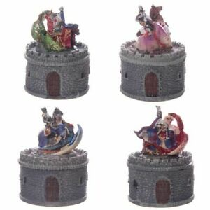 NEW 1 RANDOM SINGLE MOUNTED KNIGHT FIGHTING DRAGON CASTLE TRINKET BOX KN156