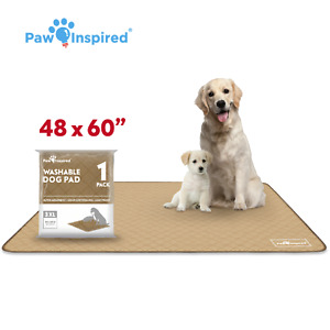 """48""""x60"""" 3XL Paw Inspired Washable Dog Pee Pads, Puppy Wee Wee Training Pads"""