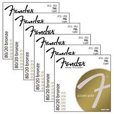 6 Sets of Fender 70L 80/20 Bronze Light Acoustic Guitar Strings (12-52)
