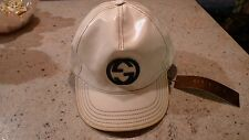 GUCCI  GG LOGO RARE MENS IVORY PELLE LEATHER BASEBALL CAP ITALY SIZE LARGE
