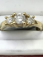 14k solid yellow gold diamond engagement ring 3 stone band wedding