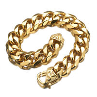 15mm Gold Stainless Steel Bracelet Bangle for Men Rapper Curb Cuban Link Chain