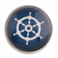 Button Click Druckknopf 0200 Steuerrad Seefahrt  Blau - kompatibel Chunk Armband