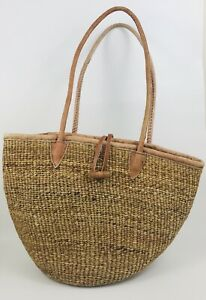 Vintage Woven Straw Market Basket Bag Purse Tote Toggle Closure Leather Straps