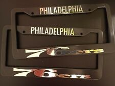 - SET of 2 - Philadelphia 76ers Black Plastic License Plate Frame Truck Car Van