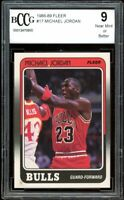 1988-89 Fleer #17 Michael Jordan Card BGS BCCG 9 Near Mint+