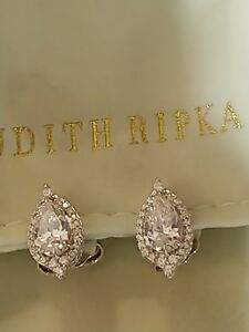 New Judith Ripka Pear Diamonique Halo Stud Earrings