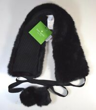NWT KATE SPADE BLACK FAUX MINK FUR WINTER COLLAR W/ POMS SCARF