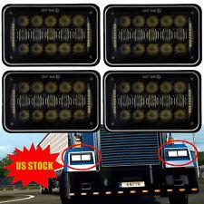 "4PCS 4x6"" Black Halo LED Projector Headlights For Kenworth Peterbilt Chevrolet"