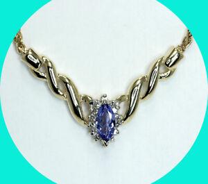 ".60CT diamond tanzanite halo pendant necklace 14K YG 9.2 GM 16"" S chain"