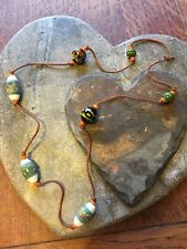 Pretty Beaded Necklace With Leather String