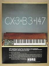1980 Korg CX-3 CX3 Clonewheel Organ vintage print Ad