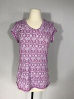 Title Nine Pink and White Geometric Print Short Sleeve Athletic Top Women's S