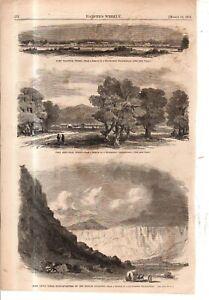 1861 Harpers Weekly - Texas Forts Wachita, Arbuckle, Davis original print -