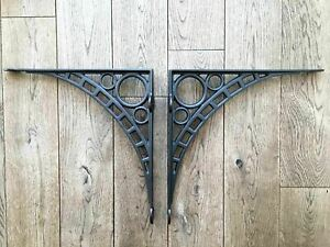 "Pair of large cast iron wall shelf brackets iron bridge bracket 13"" x 12 3/4"""