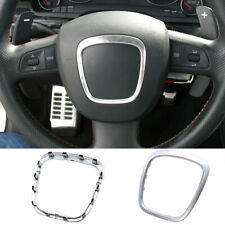Chrome Steering Wheel Emblem Trim For AUDI A4 B6 B7 B8 A5 A6 C6 Q5 Q7 Car Frame
