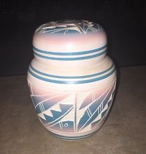Native American Hozoni Pottery white blue pink lid NS 192