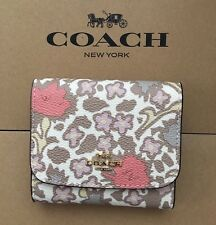 NWT Coach Small Trifold Wallet Yankee Floral Print Imitation Gold Beechwood Pink