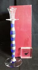 """Orrefors Celeste Candlestick Candle Holder Blue with Silver Stripes 13 1/4"""" *NEW"""