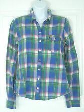 Hollister womens Juniors button fron shirt sz MEDIUM Green Blue Red Yellow plaid