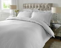 New Luxury Duvet Cover Bedding Set 300 TC Satin Stripe 100% Cotton All UK Sizes