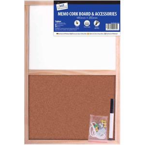 Split White Board & Cork Board Combo With Accessories Home School Office Notice