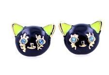 Vintage enamel crystal eye black cat charm earrings