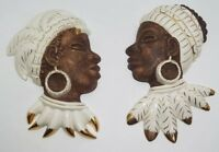 Vtg Ceramic Ethnic Tribal Women Face Mask Rare Wall Hanging Set African Far East