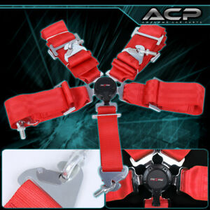 """3"""" Red Nylon Racing Safety Seat Belt Harness 5 Point Camlock Center Lock"""