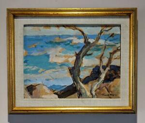 FRANK HARMON MYERS 1899-1956 Small Oil Painting TREES ON COASTLINE 20TH CENTURY