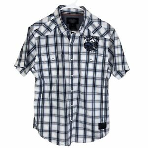 Harley Davidson Motorcycles Button Shirt Large Blue White Gray Plaid S/S Genuine