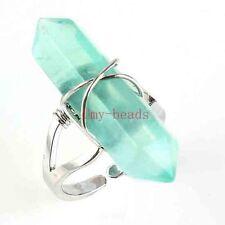 Natural Green Fluorite Gemstone Hexagon Winding Adjustable Finger Ring Jewelry