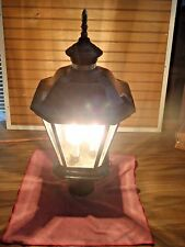vintage ceramic, brass and glass outdoor post light