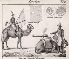 Iran Persien Iranisches Militär Original Lithografie Völkergalerie 1840