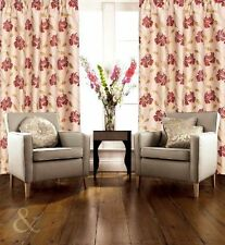 Faux Silk Floral Curtains with Pencil Pleat