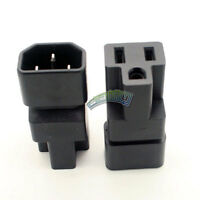 IEC male to US female Adapter Plug C14 to Nema 5-15R PDU PSU Power Adapter Black