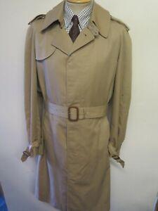 "Genuine Vintage Aquascutum Light Brown Raincoat Coat Mac Size L 42"" L Euro 52 L"