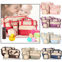 5pcs Multi Function Baby Pad Diaper Nappy Changing Tote Handbag Mother Mummy Bag