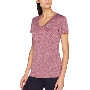 Under Armour Tech T Shirt HeatGear Twist Black Currant V Neck Ladies Sports