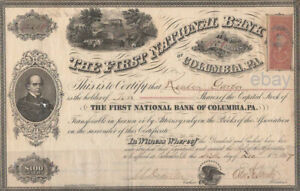 The First National Bank of Columbia, Pa. 1867 Stock Certificate 10 shares