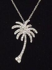 14kt White Gold Diamond PALM TREE Pendant (0.30tcw) with Chain🏝