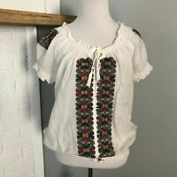 Joie Medium White Short Sleeve Peasant Top Embroidered Boho Tassels