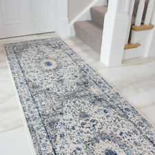 Modern Distressed Vintage Border Rug Blue Faded Grey Colour Small Large Rug Mat