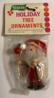 "Vintage Yuletide 3"" Wooden Wood Santa Holiday Christmas Tree Ornament #2716"