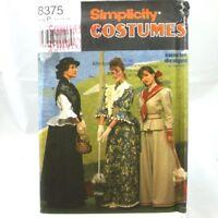 Simplicity Sewing Pattern Uncut 8375 Size P 12-16 1900s Adult Misses Costume Vtg