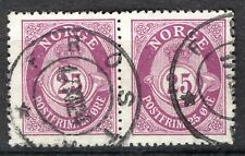 Norway 1909-19, NK 104 Pair PM Frosta 17-XII-1924 (NT-Grade 4)