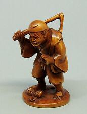 "1940's Japanese handmade Boxwood Netsuke ""Man/farmer"" Figurine Carving signed"
