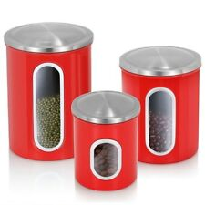 3Pcs Airtight Window Kitchen Canister Stainless Steel Canisters Set Food Storage