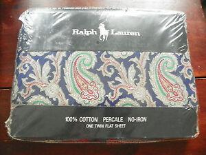 """RALPH LAUREN """"HUNTINGTON PAISLEY TWIN XL FLAT SHEET-100% COTTON-NEW-GREEN & REDS"""