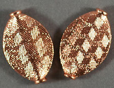 GORGEOUS SHINY TEXTURED SOLID COPPER 24MM FLUTED MARQUISE METAL BEADS (2)